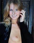 Sexy Teen Model Posing In  Black Blouse And Thong - Picture 5