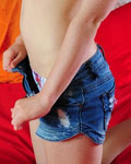 Emi Removes Her Denim Shorts And Mastaurbates On Bed - Picture 3