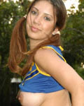 Pigtailed Teen Cheerleader Shows Her Big Natural Jugs - Picture 6