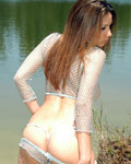 Sexy Brunette Teen In Mesh Top Teasing Outdoors - Picture 5